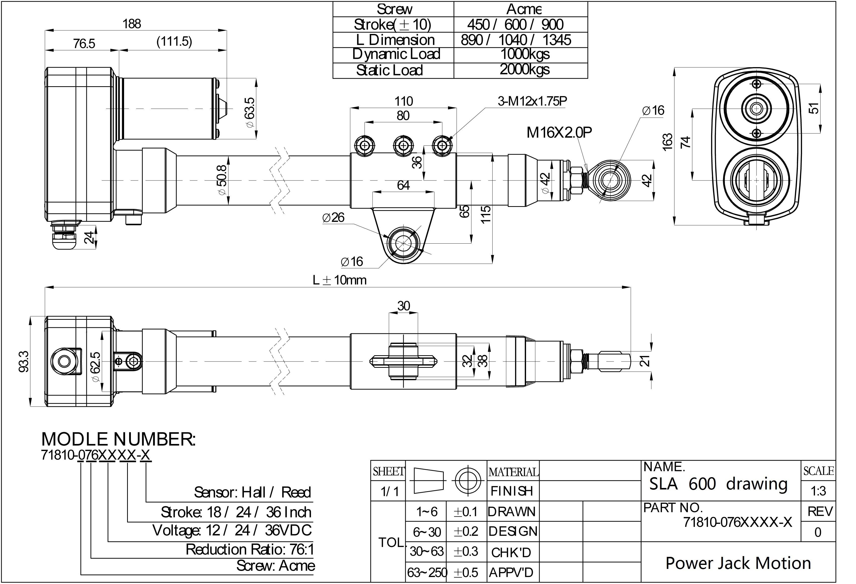 SLA600 solar tracking actuator drawing
