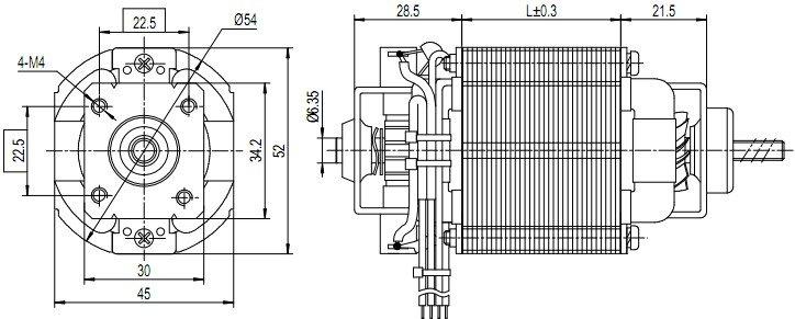 u54b-motor-outline-drawing