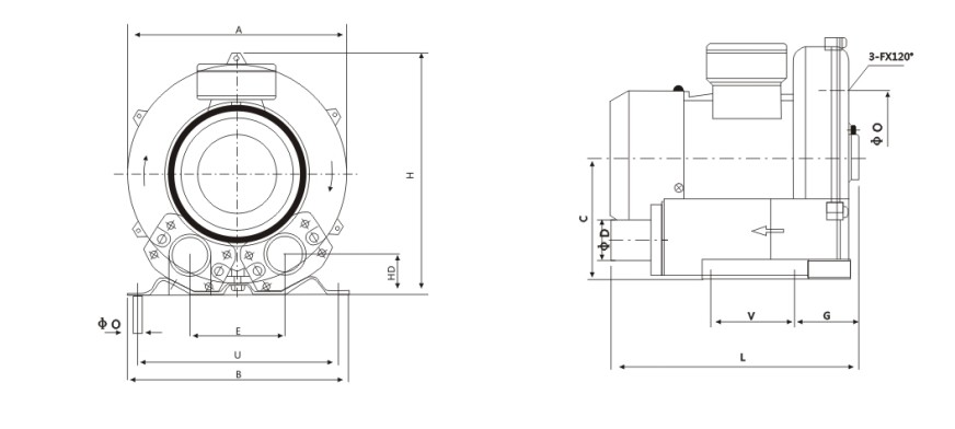 high-pressure-blower-size-drawing