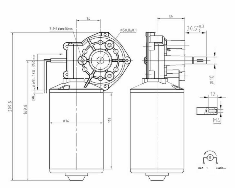 special-worm-shaft-gear-motor-drawing