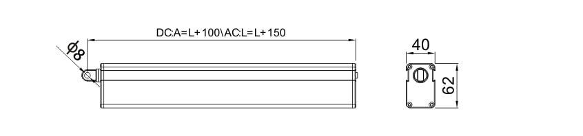 B40S Linear Shutter Actuators size drawing