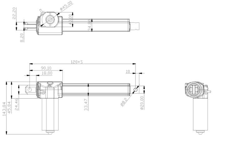 Actuator for Standing Desk Converter drawing