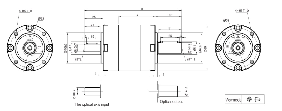 PLS060 inline planetary gearbox drawing