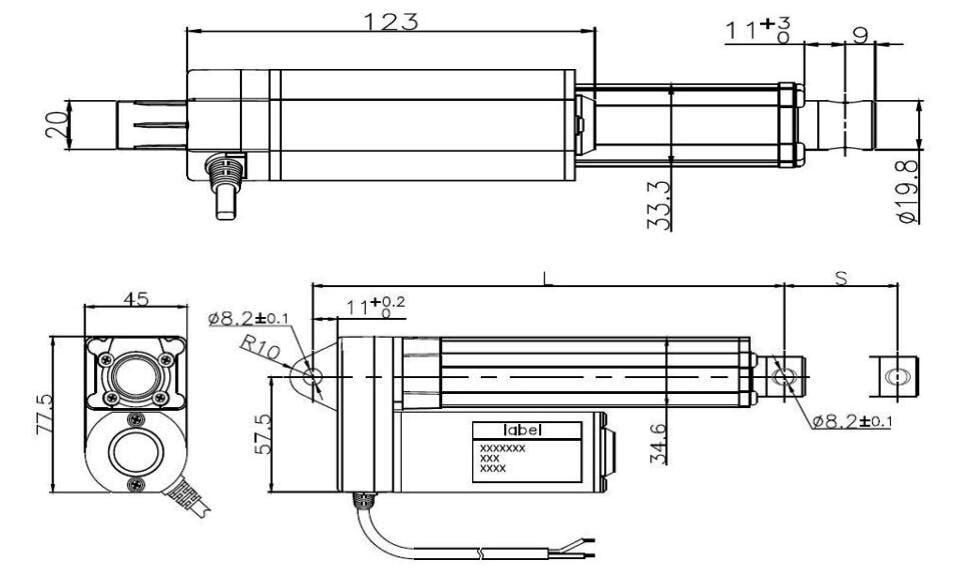 Tonneau Cover Lift Actuator drawing