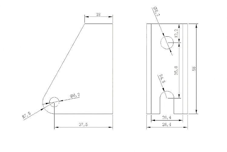 LAB1 bracket size drawing