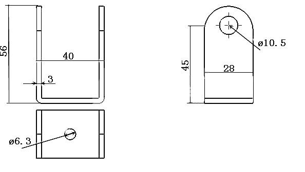 LAB2 bracket size drawing