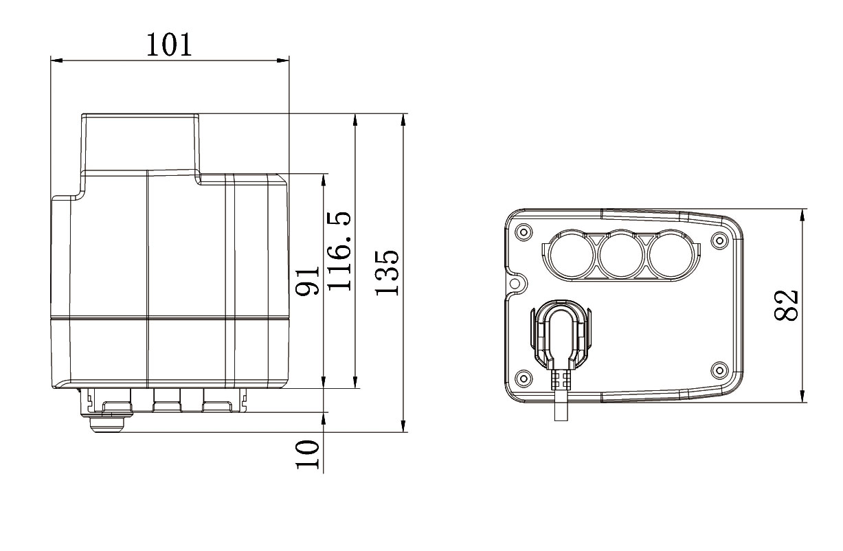 controller for 2 actuators size drawing
