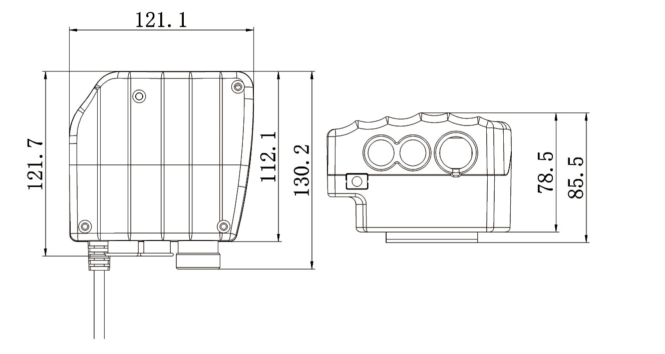 control box for 3 actuators size drawing