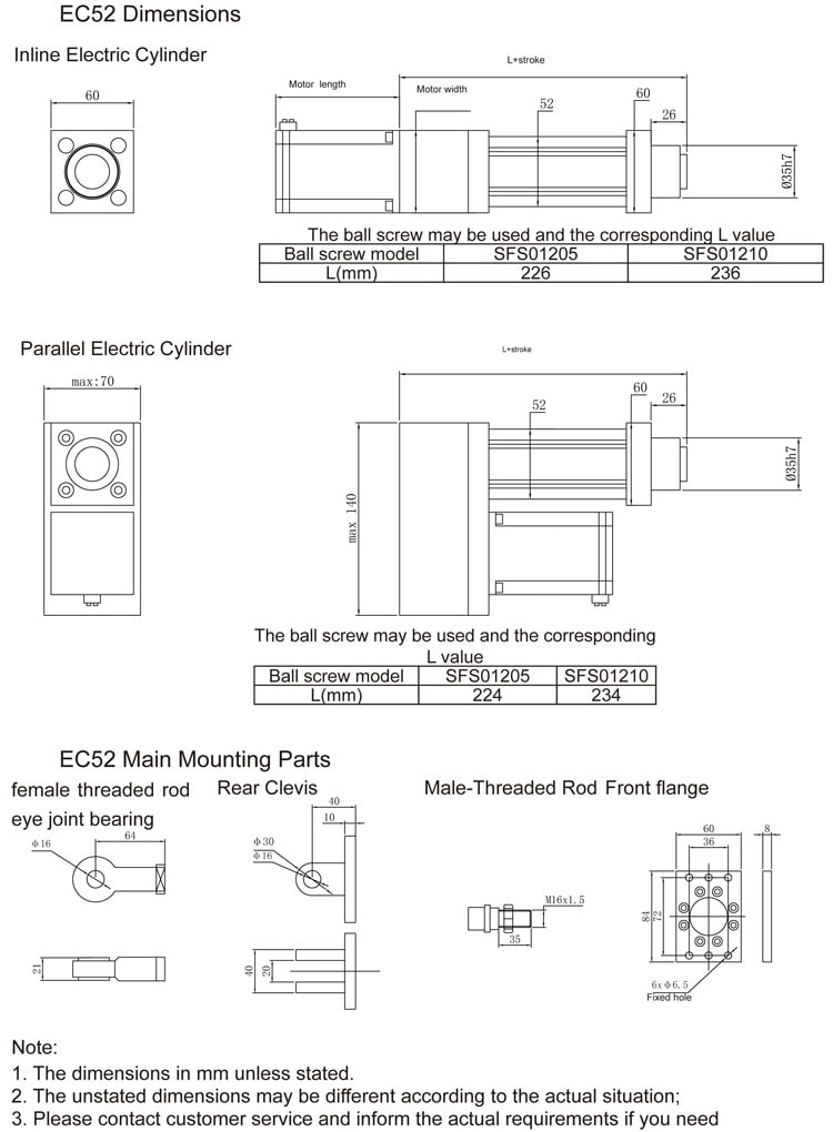 EC52 electric cylinder size drawing