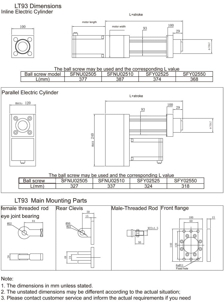 Electric cylinder LT93 size drawing