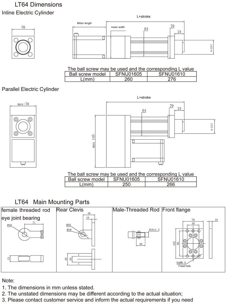 Light Duty Electric Cylinder LT64 size drawing