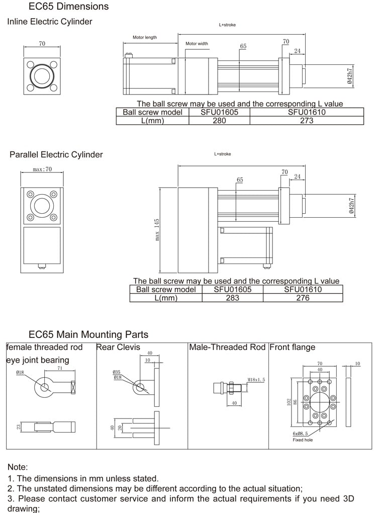ec65 electric cylinder size drawing