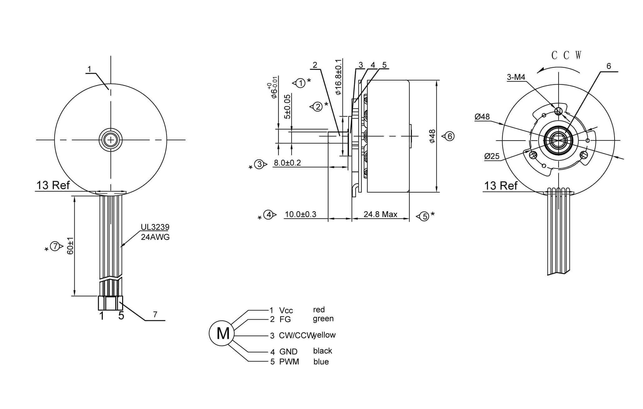 external rotor ec flat motor size drawing