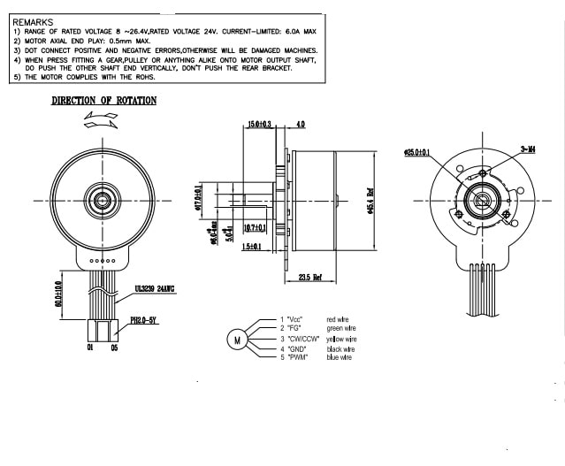 outer rotor motor size drawing
